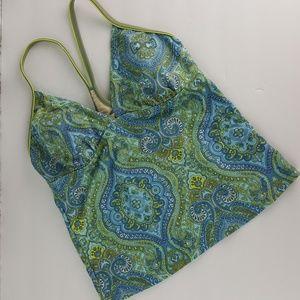 ATHLETA Blue Green Paisley Tankini Swim Top M Z50
